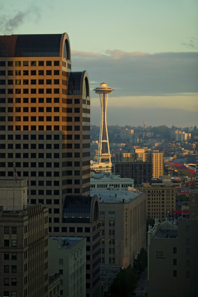 Stock Photo: 4355-355 Space Needle and Skyscraper