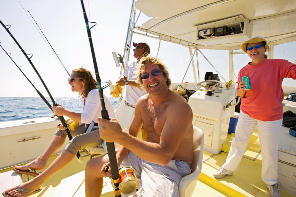 Stock Photo: 4355-395 Family Deep Sea Fishing
