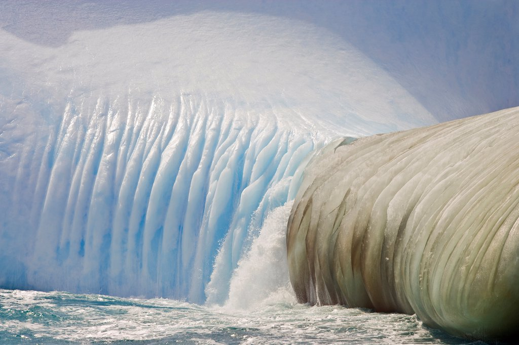Stock Photo: 4355-895 A Striated and Weathered Iceberg in the Southern Ocean