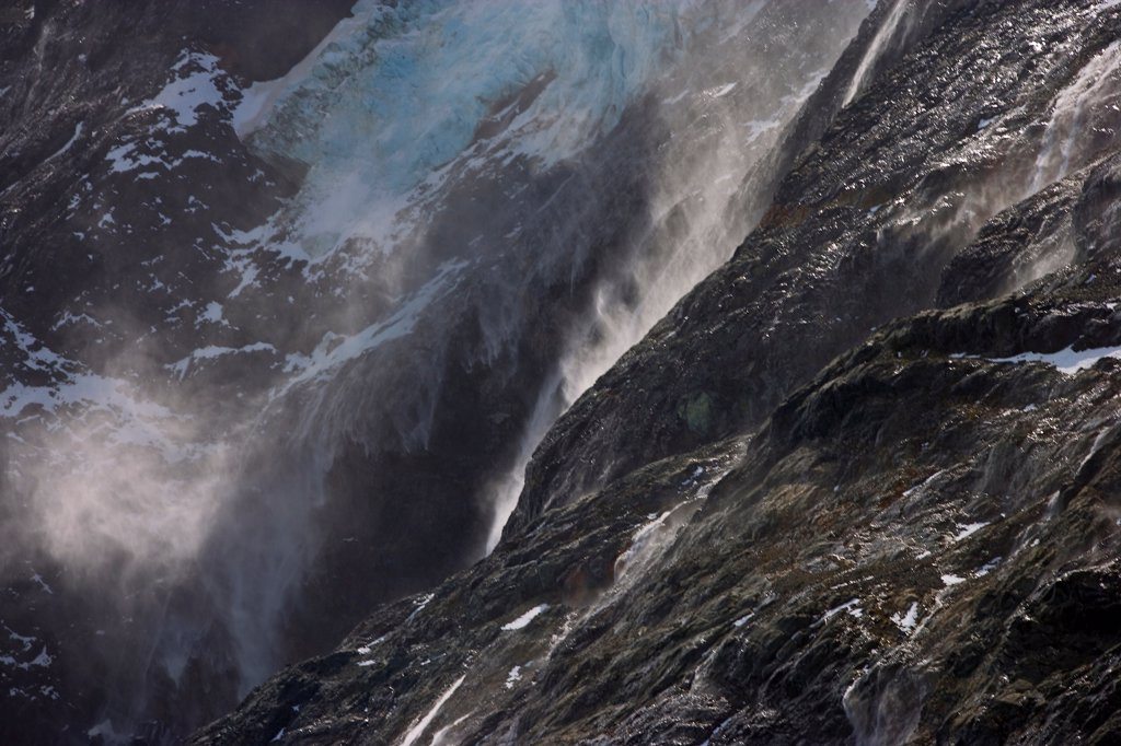 Katabatic Winds Blowing Water Uphill in Drygalski Fjord : Stock Photo