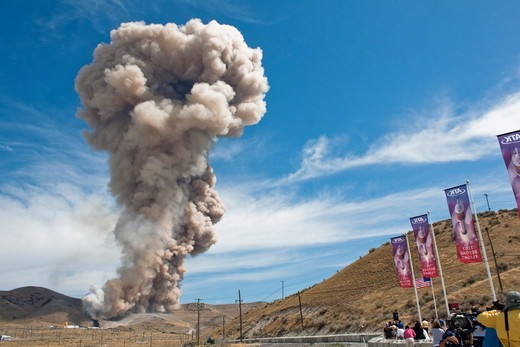 Stock Photo: 4356-187 Flame-Out and Exhaust Plume at End of Test of World's Largest Rocket Motor