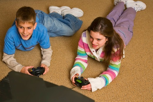 Teenagers Playing Video Game : Stock Photo