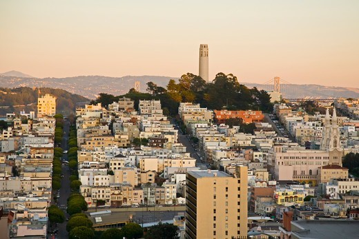 Stock Photo: 4362-298 Coit Tower and San Francisco