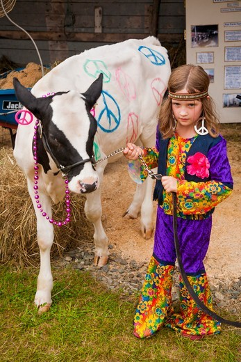 Stock Photo: 4362-856 USA, New Hampshire, Lancaster, Girl dressed as hippie Lancaster Fair