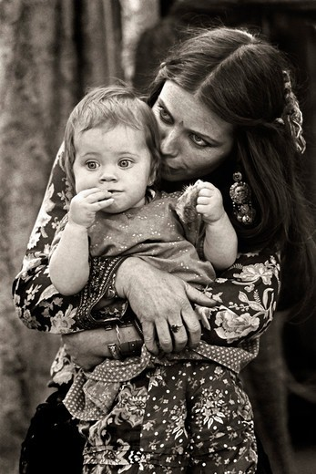 Stock Photo: 4369-235 Gypsy' Woman  and Baby at Renaissance Faire