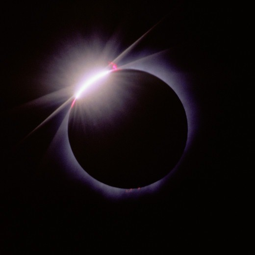 Diamond Ring Effect in Total Solar Eclipse : Stock Photo