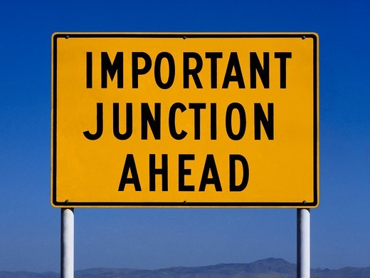Important Junction Ahead Sign : Stock Photo