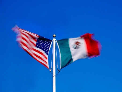 Stock Photo: 4369-457 USA and Mexico Flags