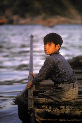 Stock Photo: 4369-467 Young Boatman in Kowloon, Hong Kong