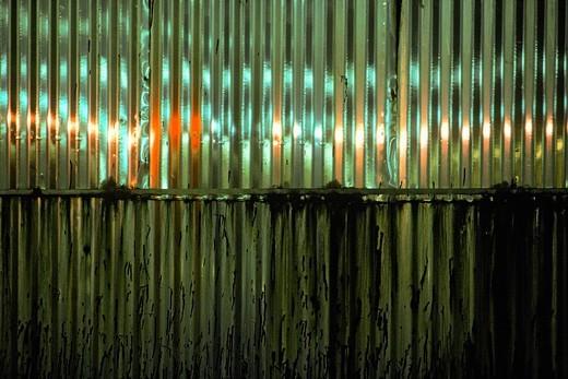 Corrugated Metal Oil Storage Tank at Night : Stock Photo