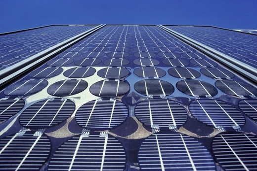 Solar cells and panels being tested for longevity at the Jet Propulsion Laboratory, Pasadena, California. : Stock Photo