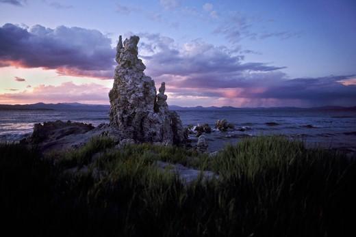 Stock Photo: 4369-748 Lakeside tufas at dusk, Mono Lake, California, USA.