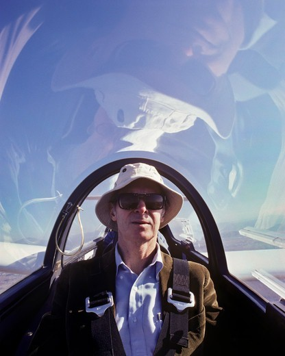 Stock Photo: 4369-854 Paul MacCready, seen here piloting a sailplane, was in a league of his own as inventors go.  Inventor of the Gossamer Condor & Albatross, (twice winner of Kremer prizes),  a wing-flapping flying scale model of a Pterosaur, among many unique creations.