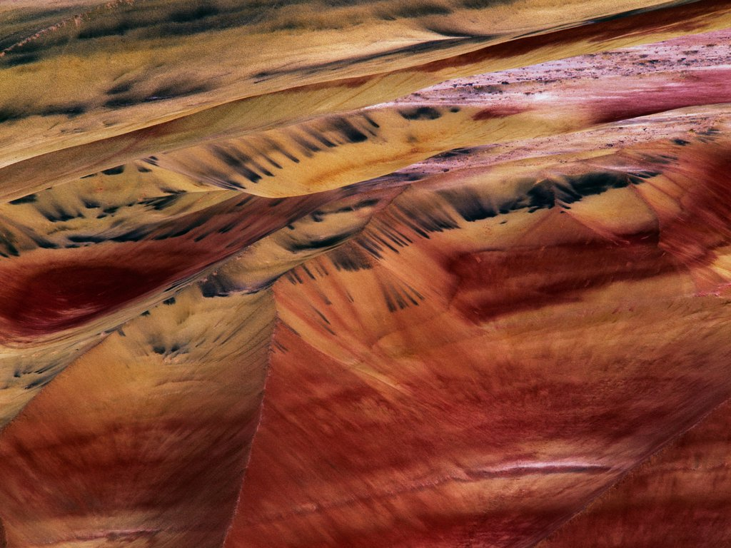 Aerial View of the Painted Hills : Stock Photo