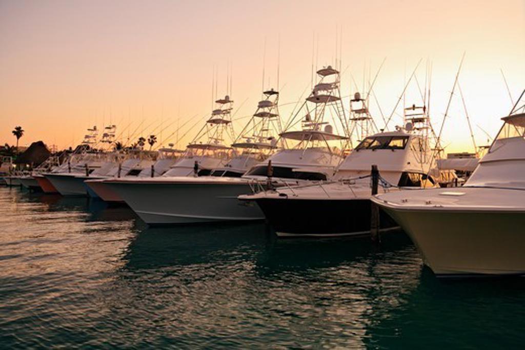 Stock Photo: 4372-734 Charter fishing boats moored on Isla Mujeres.