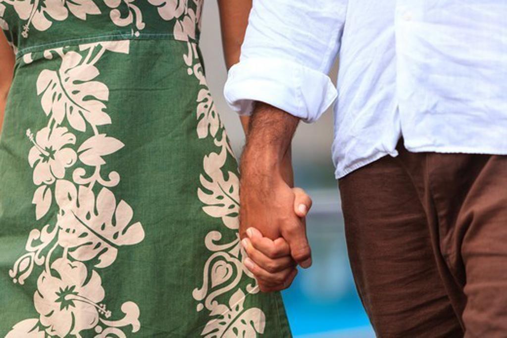 Stock Photo: 4372-808 MR Mixed Race Man (age 31) & Mixed Race Woman (age 24), Bora Bora Nui Resort & Spa, Bora Bora Island,  Society Islands, French Polynesia, South Pacific