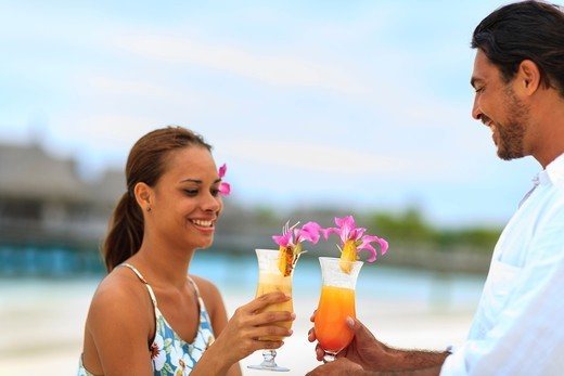 Stock Photo: 4372-818 MR Mixed Race Man (age 31) & Mixed Race Woman (age 24), Bora Bora Nui Resort & Spa, Bora Bora Island,  Society Islands, French Polynesia, South Pacific