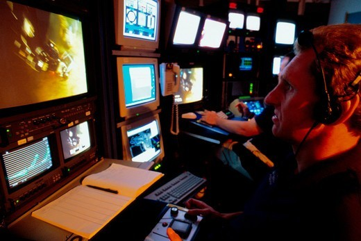 Deep-Sea ROV Unit Control Room : Stock Photo