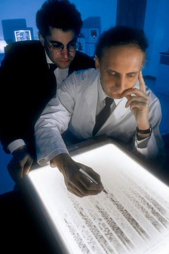 Stock Photo: 4377-166 Examining DNA Sequence