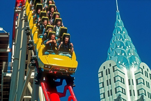 Stock Photo: 4377-310 Passengers Enjoy a Roller Coaster Ride in Las Vegas