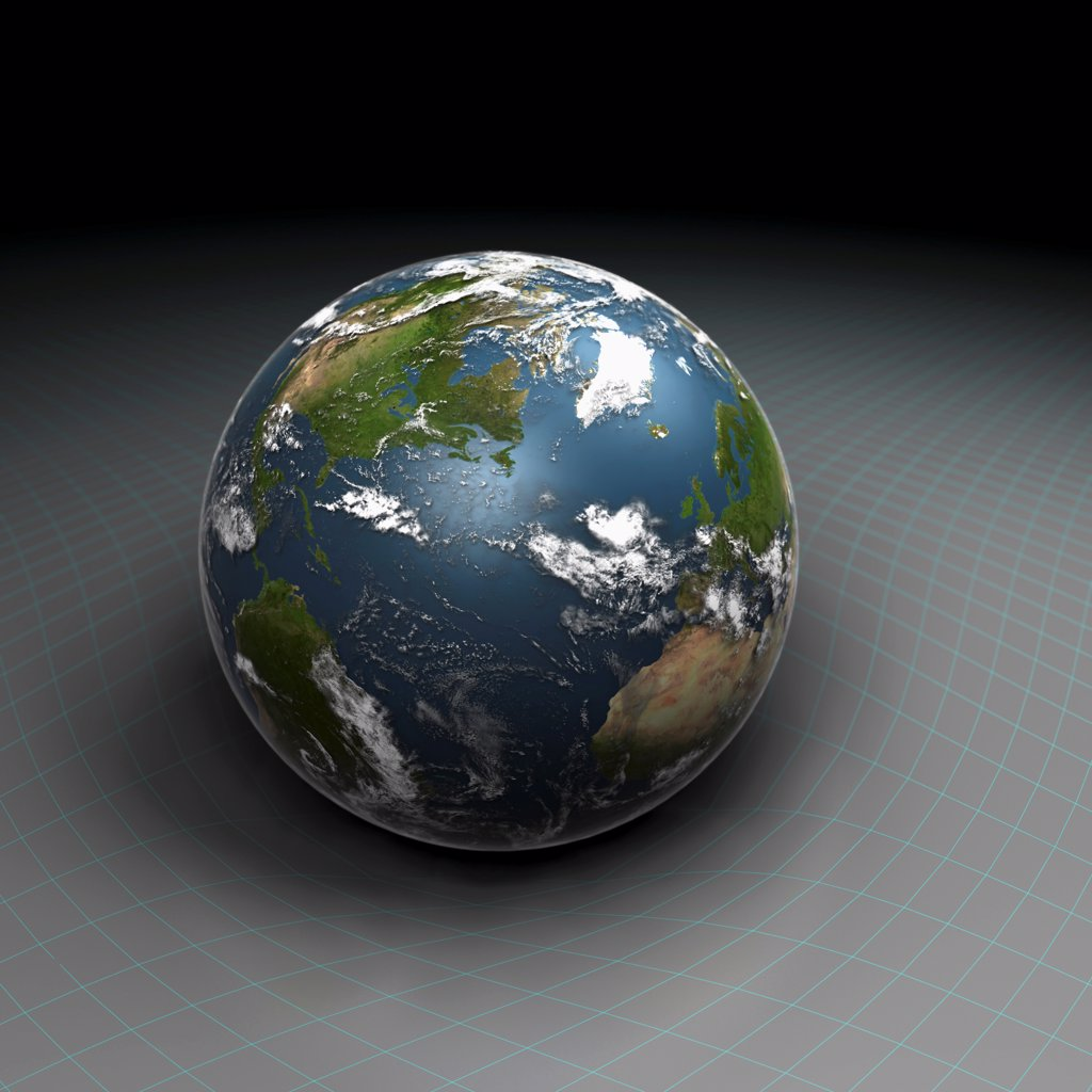 Stock Photo: 4378-1344 Wireframe model used to show the gravity of earth.