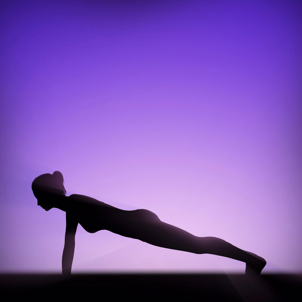 Silhouette of human body in plank pose. : Stock Photo