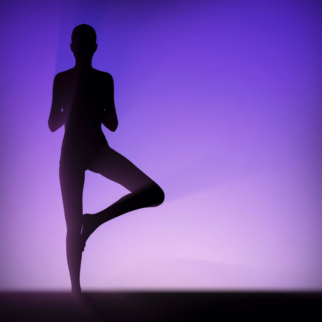 Silhouette of human body in tree pose. : Stock Photo