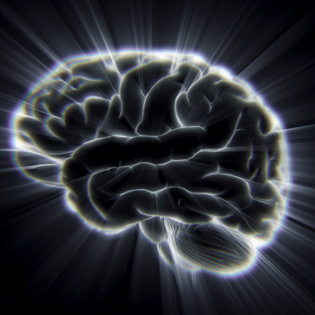 Stock Photo: 4378-2440 Diagram of the human brain emanating light beams.