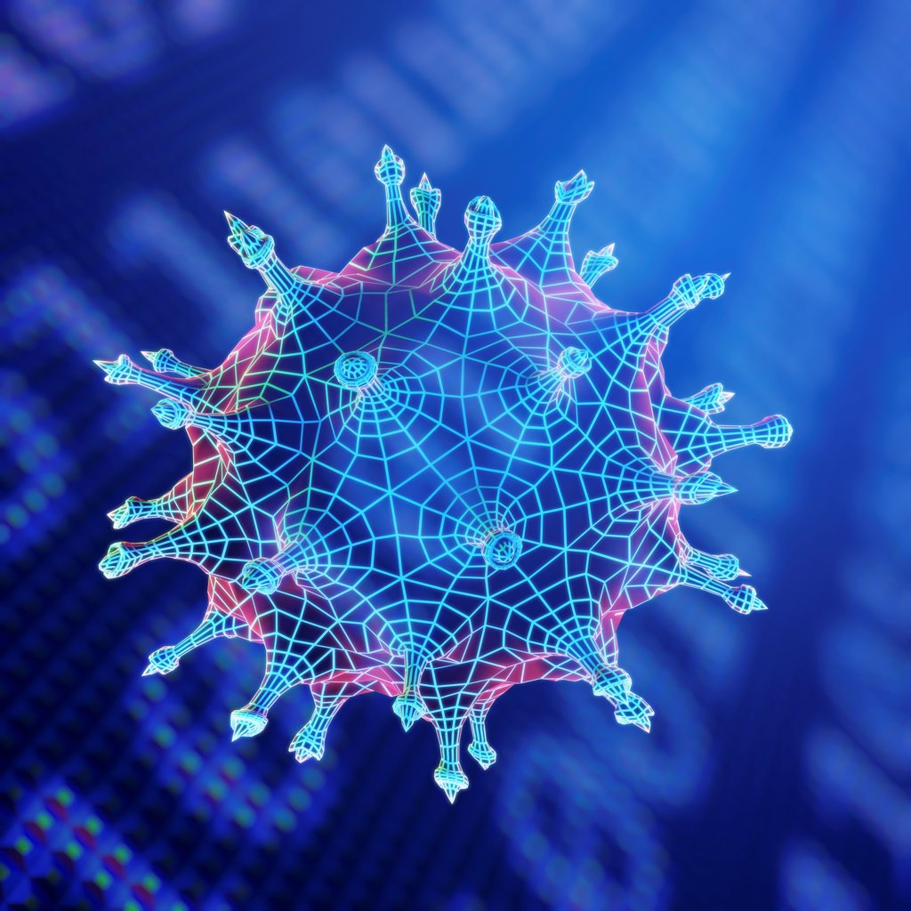 Stock Photo: 4378-2478 Virus particle representing a computer virus.