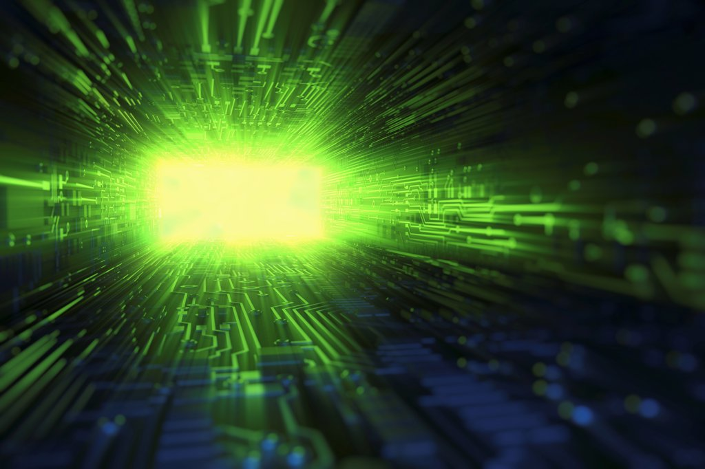 Stock Photo: 4378-2880 Light beams emanating from the end of a digital tunnel.