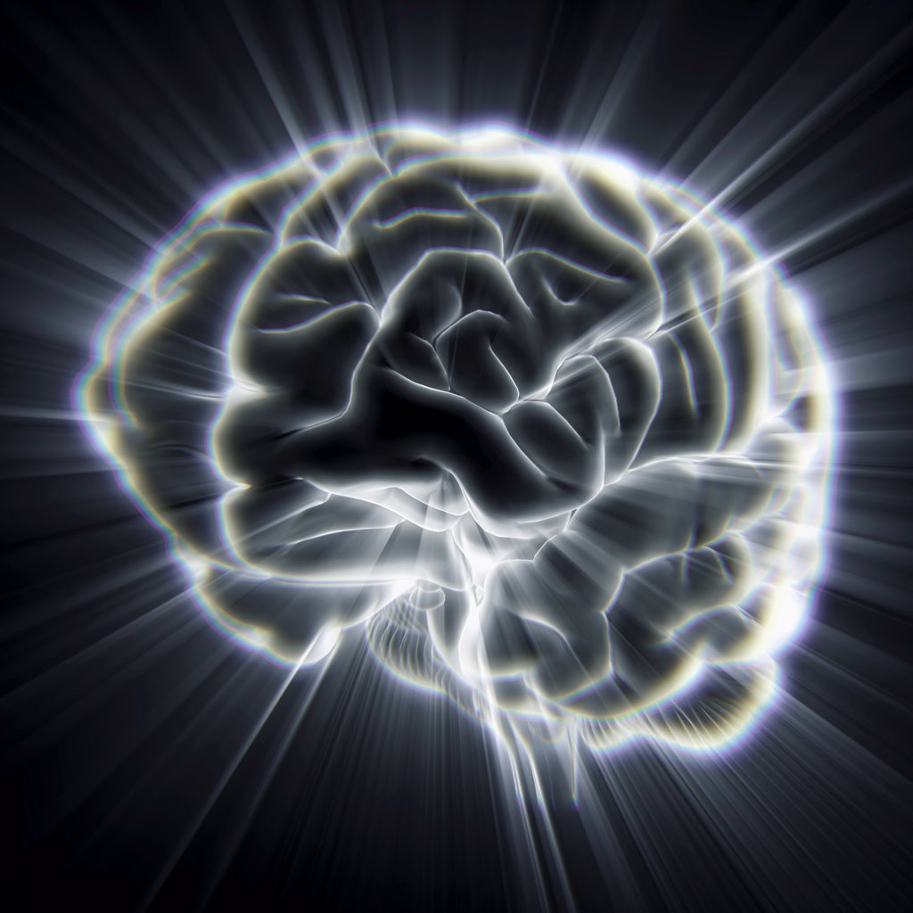 Diagram of the human brain emanating light beams. : Stock Photo