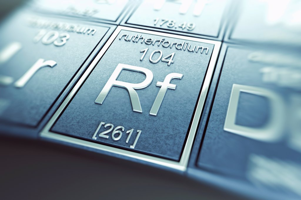 Stock Photo: 4378-4951 Rutherfordium (Chemical Element)