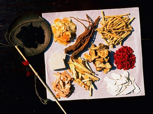 Chinese Herbal Medicine with Weighing Scale : Stock Photo
