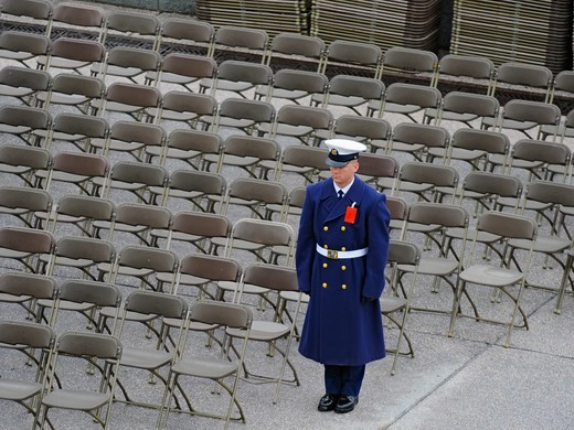 Stock Photo: 4385-201 A U.S. Coast Guard usher participates in the 56th Presidential Inauguration rehearsal in Washington, D.C. More than 5,000 men and women in uniform provided military ceremonial support to the presidential inauguration, a tradition dating back to George Washington's 1789 inauguration.  (DoD photo by Tech. Sgt. Suzanne M. Day, U.S. Air Force/Released)