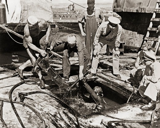 Rescue and Salvage Efforts After Attack on Pearl Harbor : Stock Photo