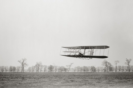 Stock Photo: 4388-221 Orville Wright Flying Over Huffman Prairie
