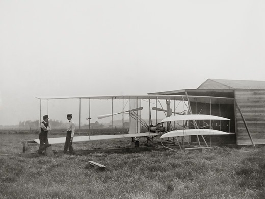 Stock Photo: 4388-222 Wright Brothers with Second Airplane on Huffman Prairie