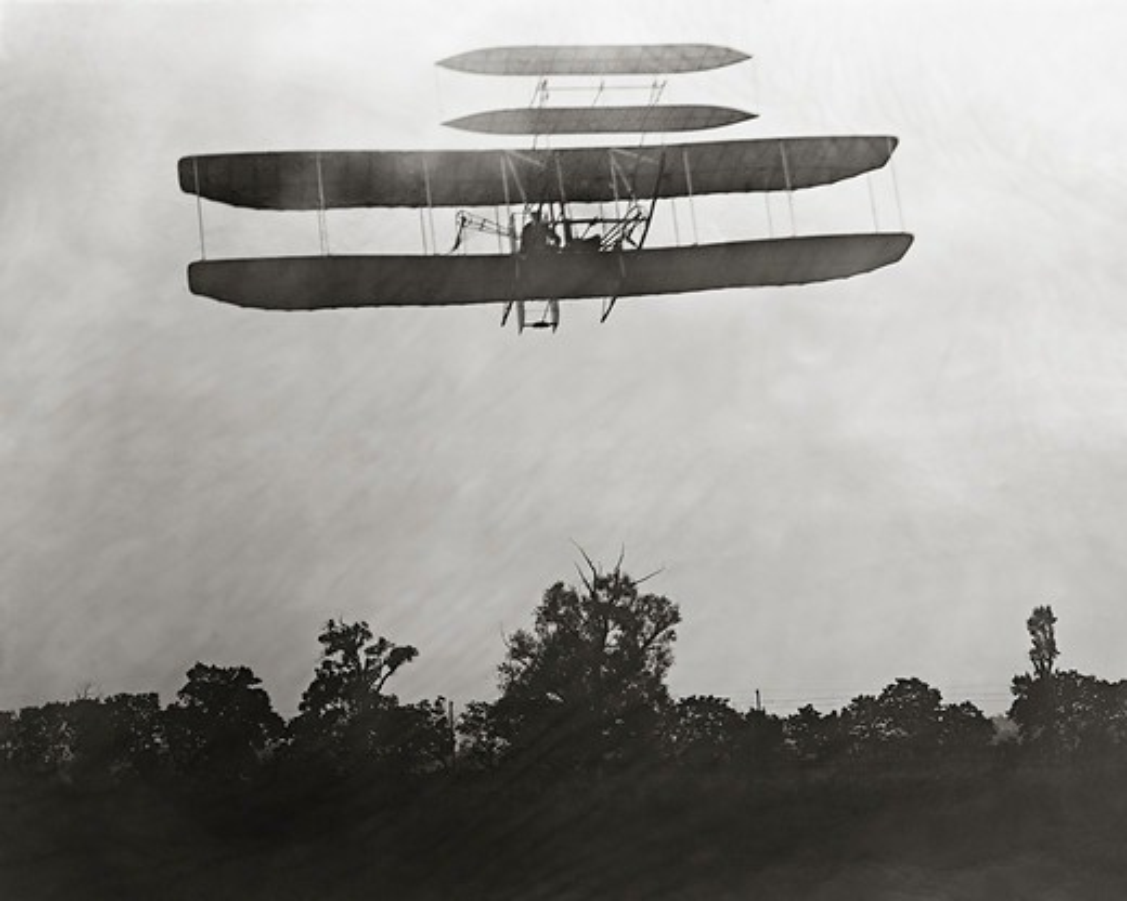 Orville Wright Flying Over Huffman Prairie : Stock Photo