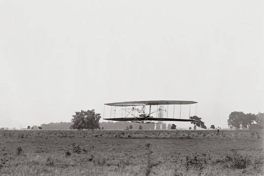 Wilbur Wright Flies Over Huffman Prairie : Stock Photo