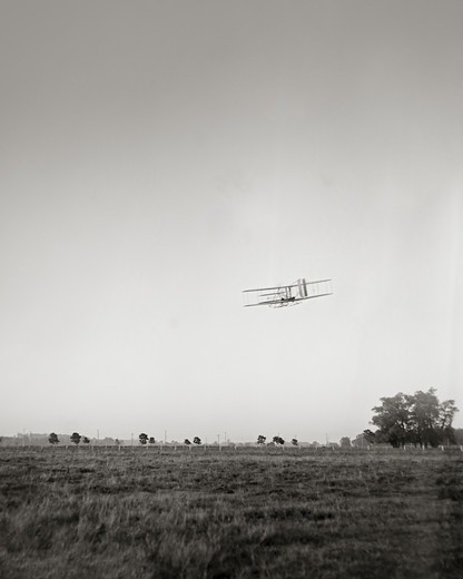 Stock Photo: 4388-230 Orville Wright Flying Over Huffman Prairie
