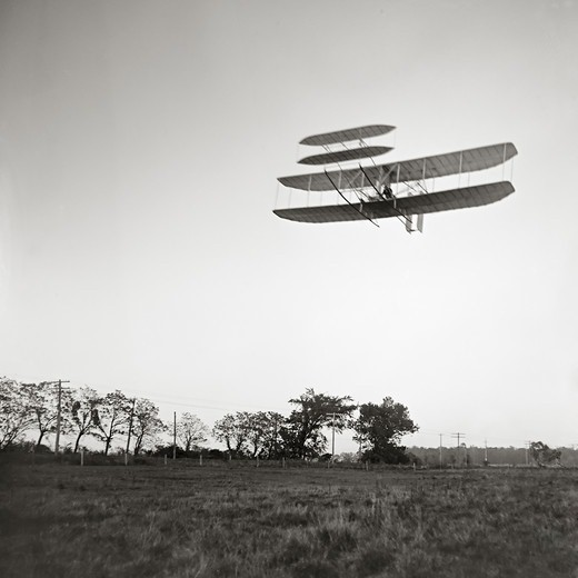 Stock Photo: 4388-231 Orville Wright Flying Over Huffman Prairie