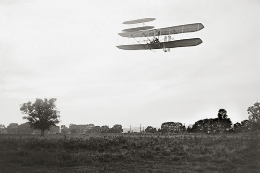 Stock Photo: 4388-232 Orville Wright Flying Over Huffman Prairie