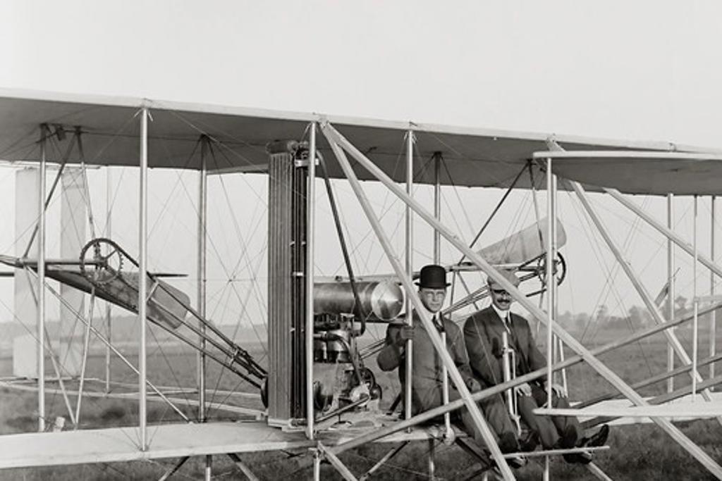 Stock Photo: 4388-233 Orville Wright Prepares to Take Off