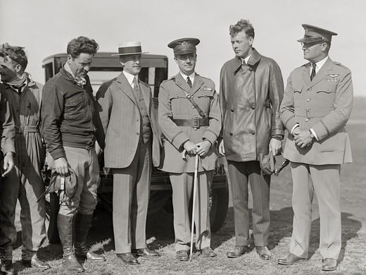 Orville Wright Meets Aviator Charles Lindbergh : Stock Photo