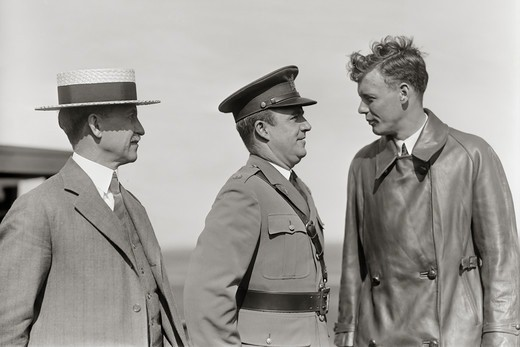 Stock Photo: 4388-249 Orville Wright Meets Aviator Charles Lindbergh