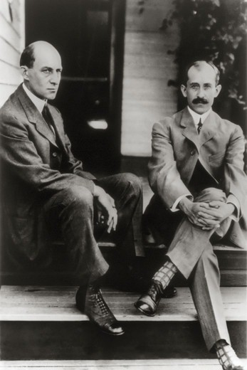 Stock Photo: 4388-257 Airplane Pioneers Wilbur and Orville Wright on Rear Porch