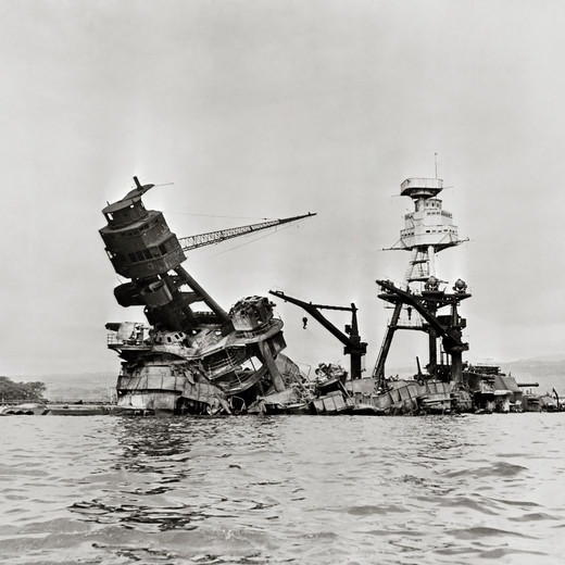 Stock Photo: 4388-324 Wreakage of USS Arizona