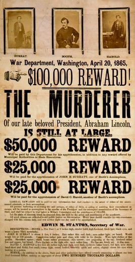 Wanted Poster for John Wilkes Booth and Co-Conspirators : Stock Photo