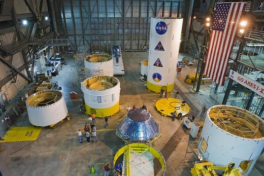 Stock Photo: 4389-1504 Parts of Ares I-X Arrives at Kennedy Space Center