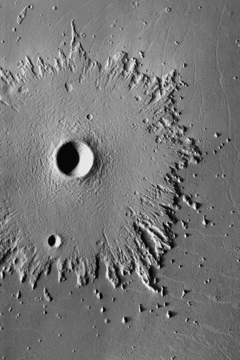Radial Erosion on Mars by Mars Odyssey : Stock Photo
